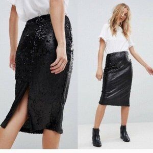 NWT Minkpink Black Sequin Midi Pencil Skirt